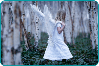 A child angel walking through a birch forest