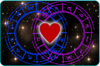 Pink and blue zodiac wheels overlapping with a heart in the middle