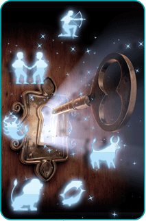 Illustration of a key being inserted into a glowing key hole, surrounded by representations of zodiac signs