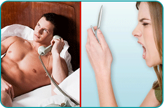 A split screen with a man in bed on the phone with a woman yelling into her cellphone