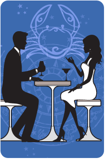 Black and white illustration of a couple sitting at dinner with the Cancer crab over a blue background behind them