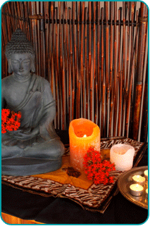 A small buddhist altar in a home