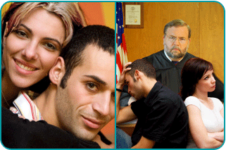 A split image where the left is a guy with his new girlfriend and the right is him with his wife in front of a divorce judge