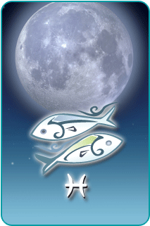 A full moon with an illustration of the Pisces zodiac sign in the foreground