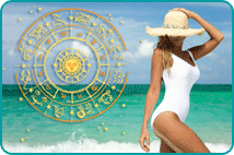 Woman in Swimsuit on Beach with Astrological Wheel