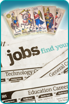 Tarot cards over the Help Wanted newspaper section