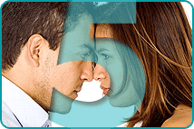 Transparent blue 5 superimposed over head-to-head couple