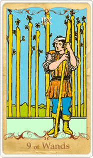 The 9 of Wands Tarot Card based on Rider-Waite