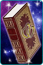 Ornate book with two intersecting hearts embossed on cover with mystical background