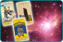Three glowing tarot cards over a space nebula background