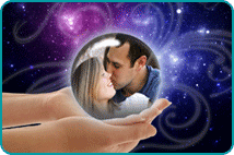 Kissing couple in crystal ball held in woman's hands over space background