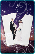 Ripped picture of bride and groom over mystical background
