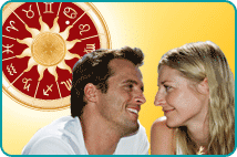 Couple looking at each other over yellow background with zodiac wheel in sky