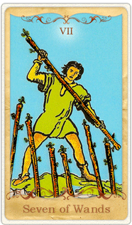 The 7 of Wands Tarot Card based on Rider-Waite