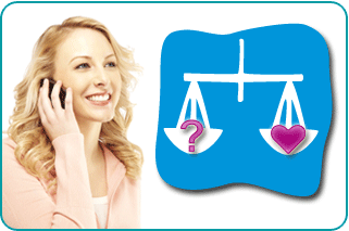 A Libra woman on the phone with her psychic getting advice on love, with an illustration of Libran scales balancing a question mark and a heart
