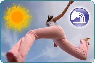 Woman skipping with the sun in the sky and an illustrated sign of Aquarius in the foreground