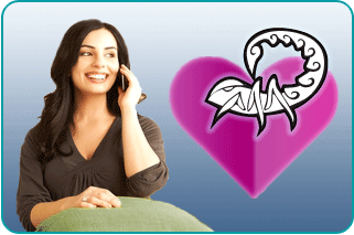 Smiling woman on the phone talking to her psychic about love advice for Scorpios with an illustration of a scorpion and a heart in the foreground