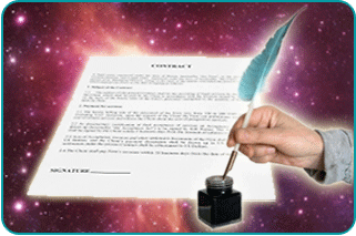 Contract in foreground with a hand holding a quill pen over a bottle of ink over a nebula background