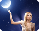 Woman pointing to full moon