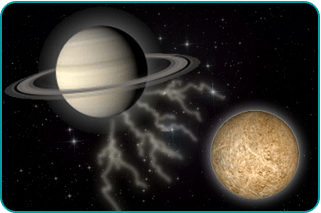 The planets Saturn and Pluto, with tension lightning bolts eminating from Saturn