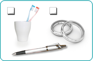 A check-box form with a choice of two toothbrushes in the same cup, symbolizing living together, and two wedding bands, symbolizing marriage