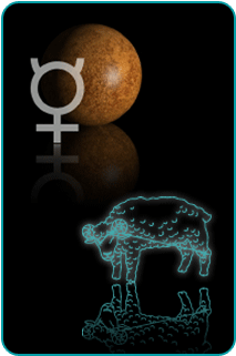 Illustrated constellation of Aries over the planet Mercury and astrological sign for Mercury in background