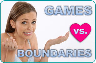 An indecisive woman, with the text 'games vs boundaries' over a cartoon heart