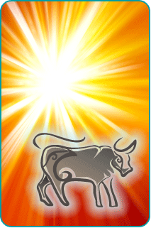 An illustration of Taurus the Bull with the sun in the background