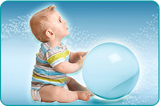A toddler with a mystical crystal ball
