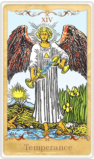 The Temperance Tarot Card based on Rider-Waite