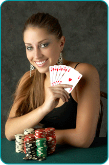 A woman at a poker table, holding a royal flush of hearts