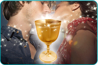 Two soulmates kissing with the Holy Grail hovering before them