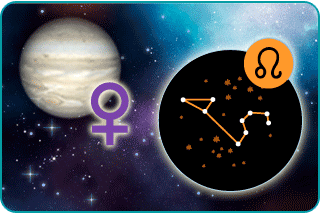 The planet Venus with astrological sign and illustrated constellation of Leo in the foreground