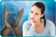 Woman contemplating over blue background & hands holding crystal ball