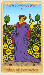 The 9 of Pentacles Tarot Card based on Rider-Waite