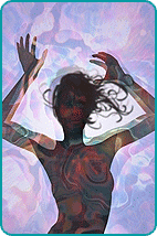 Illustrated silhouette of a woman over a multicolored background