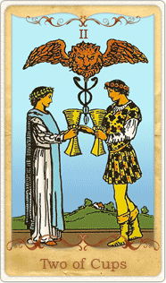The 2 of Cups Tarot Card based on Rider-Waite