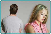 Man walking away from depressed-looking woman