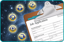 A clipboard holding a blank job application form over a background of space, surrounded by zodiac symbol icons