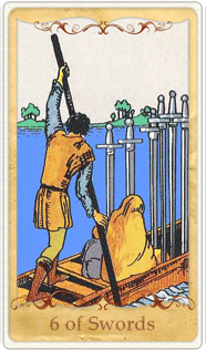 The 6 of Swords Tarot Card based on Rider-Waite