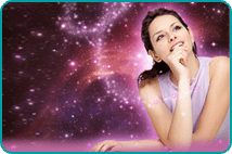 Pondering woman looking upwards over background of space nebula