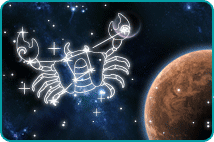 Illustrated constellation of Cancer zodiac sign with the planet Mars in background