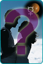 Silhouette of couple holding each other with a question mark superimposed and Planet Mercury w/zodiac symbol in background