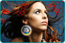 Woman looking up with large earring of Virgo astrological sign