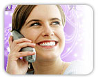 Woman on phone over sparkly background