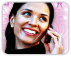 Woman on phone over pink sparkly background