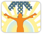 Illustration of woman with outstretched arms over illustrated sun background