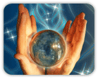 Hands holding crystal ball over blue background