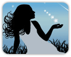Illustrated silhouette of woman sitting in field looking out over shooting stars in evening sky