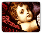Close-up of a cherub in a stained glass window